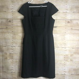 Ann Taylor black dress pintuck square neck size 14